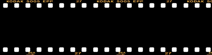 black and white header art film strip